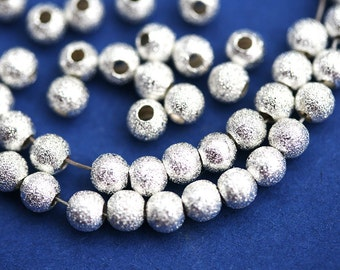 4mm Round Silver Plated Stardust metal beads, Nickel Free, Brass small silver spacer - 50Pc - 0317