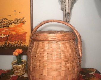 Vintage Large Hand Woven Wicker and Reed Snake Charmer Basket with Lid