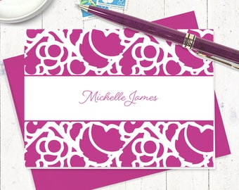 personalized note cards stationery set - STENCIL BORDER - set of 8 folded note cards - stationary gift set - custom cards