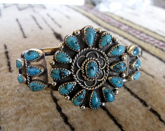 Navajo Bracelet Turquoise and Sterling Silver   RF003