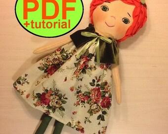 Rag doll pattern cloth doll pattern fabric doll pattern doll sewing pattern soft doll pattern textile doll stuff doll tutorial heirloom doll