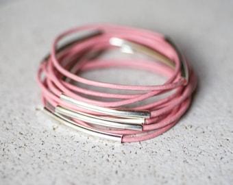 Pink leather bangles, set of 10 bracelets