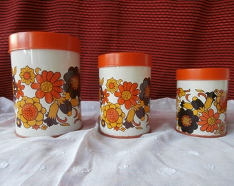 Set of three Pots in iron and plastic Orange 70' Email