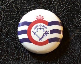 "1"" Cincinnati OH flag button - Ohio, city, pin, badge, pinback"
