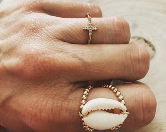 Navy gold filled ring