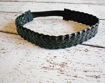 Braided Faux Leather Headband- Black- Newborn to Adult