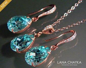 Light Turquoise Rose Gold Jewelry Set Teal Pink Gold Earrings&Necklace Bridal Set Swarovski Turquoise Crystal Set Prom Jewelry Bridesmaids