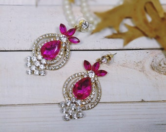 Magenta and White Rhinestone Gold Plated Chandelier Earrings, Prom  Magenta Earrings, Wedding Earrings, Rhinestone Earrings, Earrings
