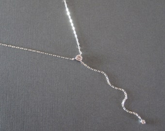 CZ Stone Sterling Silver Lariat Necklace - Y Style Necklace - Simple Modern Everyday Lariat Necklace