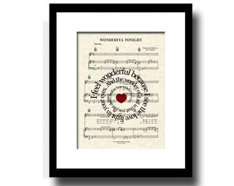 Wonderful Tonight Song Lyric Sheet Music Art Print, Custom Art, Names and Date, Wedding, Anniversary, Music Wall Art