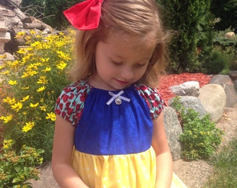 Snow White inspired dress, costume with red bow **FREE SHIPPING**