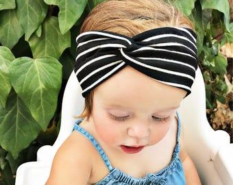 Midnight's Stripes, baby turban headband, black baby headband, black baby headwrap
