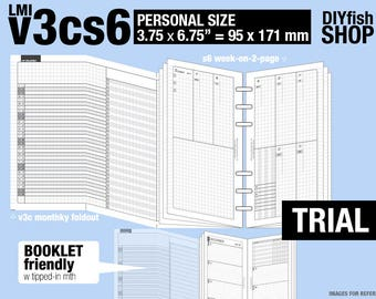 Trial [PERSONAL v3cs6 w/o DAILY] July to September 2018   - Filofax Inserts Refills Printable Binder Planner Midori.