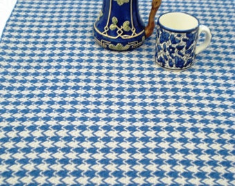 Table linens, table runners place mats table mats, nautical blue and misty grey, checks, hand woven cotton