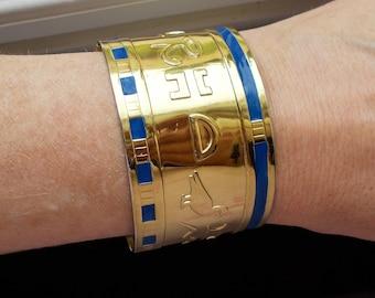 Gold Egyptian hieroglyphic cuff bracelet bangle