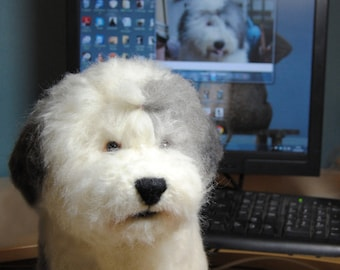 Old English Sheepdog, LARGE SIZE, Needle Felted Dog, Custom Made Pet Portrait, Sheepdog, Rottweiler, Poodle or any other breed