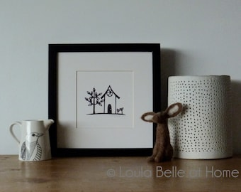 Little house, an original mini papercut by Loula Belle at Home
