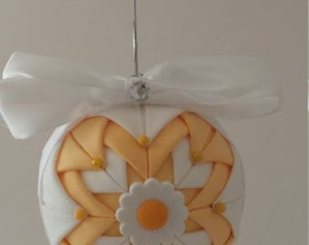 Yellow & White folded fabric handmade ornament with daisy decoration
