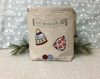 Drawstring project bag for mittens and hats