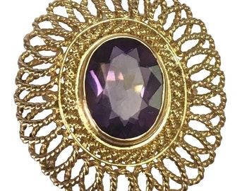 18 K Yellow Gold 1.00 Carat Amethyst Filigree Ring