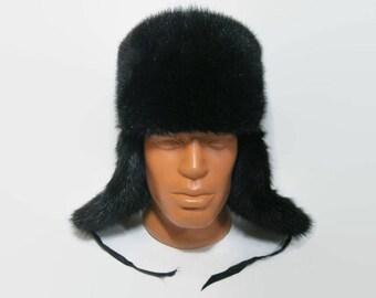 Russian Rabbit Fur Hat / Fur Hat Ushanka / Russian Winter Hat