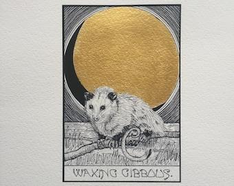 Moon Phase print, waxing gibbous moon, opossum print, gold leaf, kaya tinsman, animal drawing