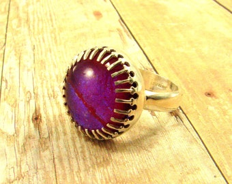 Dichoic Glass Set in Fine Silver and Sterling Silver Ring - Size 7 ready to ship but can be resized