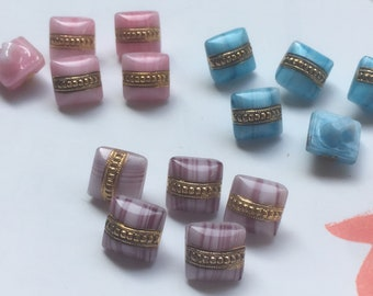 5 smal Square buttons-old collector glass buttons-hand painted (10 mm * 10 mm)