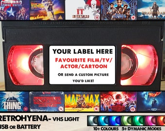 Retro VHS Tape Nightlight - Custom Request ~ Custom made Film/TV/Character Gifts - Requests welcome!
