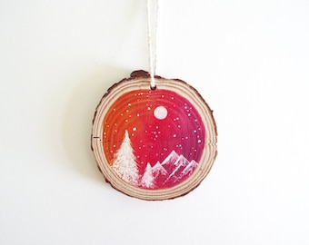 Christmas Decoration Hand Painted Wood Slice. Rustic Snow Sky Sunset Original Watercolor Painting. Christmas Decor.