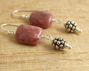 Earrings with Lapidolite and Bali Beads Wire Wrapped to Sterling Silver Earring Wires HE-406