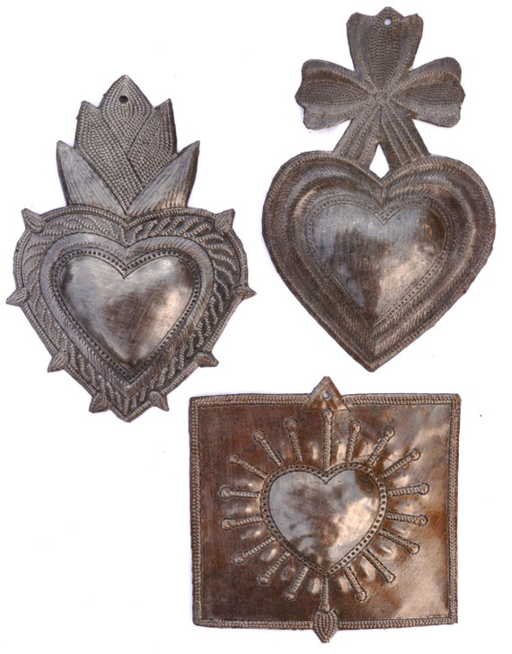 """Metal Hearts Spirituality & Religion, Hand Cut with a hammer and a nail 6"""""""