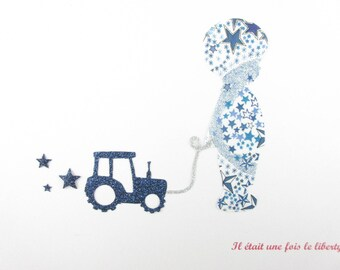Applied shape in your little boy with tractor fabric liberty Adelajda blue glitter flex liberty fusible applique tractor