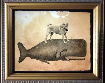 Labrador Retriever Yellow Lab Riding Whale - Vintage Collage Art Print on Tea Stained Paper dog art - dog gifts - mother's day gift