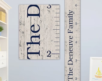 Family Growth Chart - Personalized Canvas Growth Chart, Growth Chart Ruler, Family Sign, Family Name Sign - GC0102N