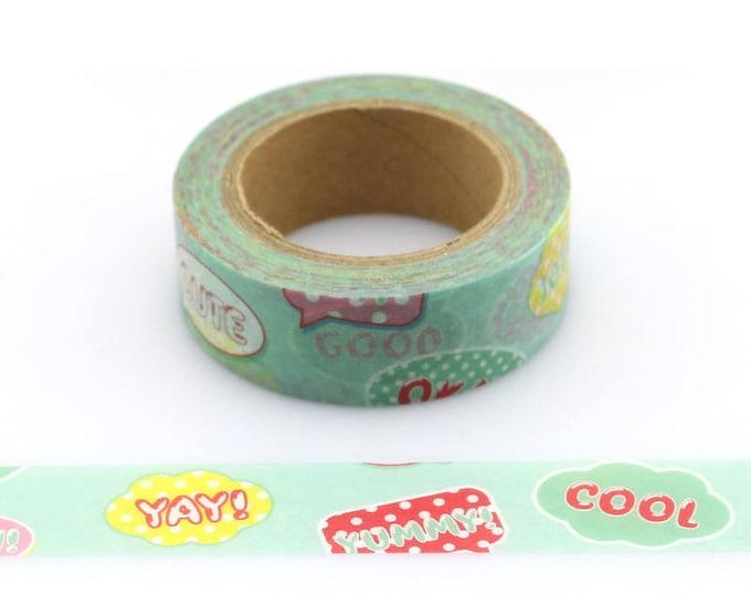 Word Bubble washi tape - Washi Tape - Fun Washi Tape - Paper Tape - Planner Washi Tape - Washi - Decorative Tape - Deco Tape - Typography