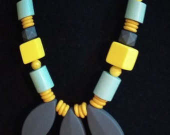 Beaded Necklace. Wooden beads combined with varied beads.
