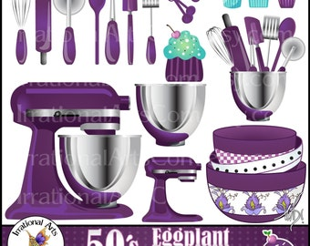 Eggplant Purple Kitchen INSTANT DOWNLOAD Digital Clipart Graphics 21 kitchen baking supplies CUPCAKES wisk rolling pin pizza cutter spatula