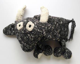 Black bull stuffed soft plush