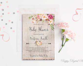 Blush Pink Baby Shower Spring Baby Girl Shower Invitation