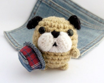 Amigurumi English Bulldog, crochet English Bulldog with hat. Stuffed crochet dog. Crochet bulldog.