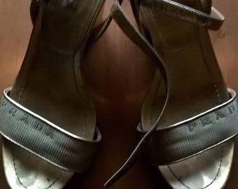 Prada gold platform summer sandals shoes size EU 38