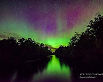 Northern Lights Photo, Night Photography, Aurora Borealis, Fine Art Print, River, Green Purple, Magical, Spring Night, Wisconsin, Home Decor