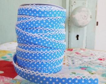 Light Blue Polka Dot Crochet Edge Bias Tape (No. 10).  Sewing Supplies.  Handmade Supplies.  Sewing Supplies.  Quilt Supplies.