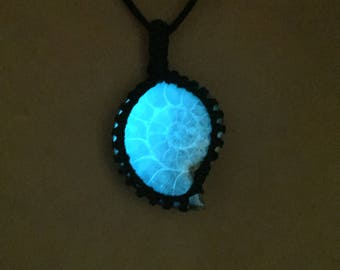 Bohemian Ammonite Fossil necklace, Glow in the dark Nautilus Fossil Necklace, Ammonite jewelry, Ammonite Fossil Pendant, Healing necklace