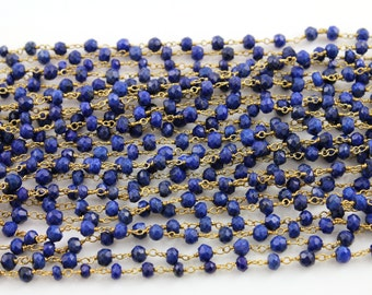 Genuine Lapis wirewrapped Gemstone Rosary Chain, 3x2mm  Sold By the Foot.,(GMC-LAPIS)