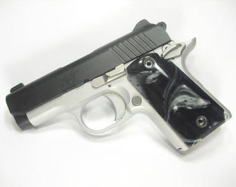 Black & Silver Pearl Kimber Micro 9 Grips