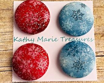 Snowflake cloth magnet set, coworker gift, teacher gift, house warming gift, office decor, fridge magnet set, winter magnets