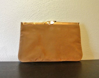 Vintage Brown Suede Ideal Clutch Bag, Optional Chain, Flex Frame