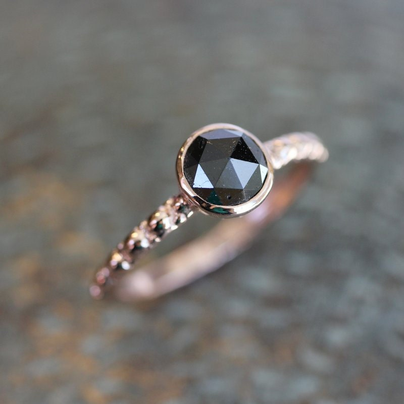 Black Diamond Rose Cut and Hand Carved 14k Rose Gold Band and